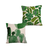 Tropical jungle green leaves cushion cover