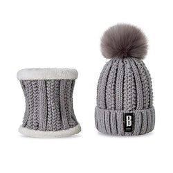 Knitted warm plush hat & scarf set