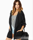 Casual hooded trench coat blazer