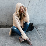 Fluffy hooded cardigan