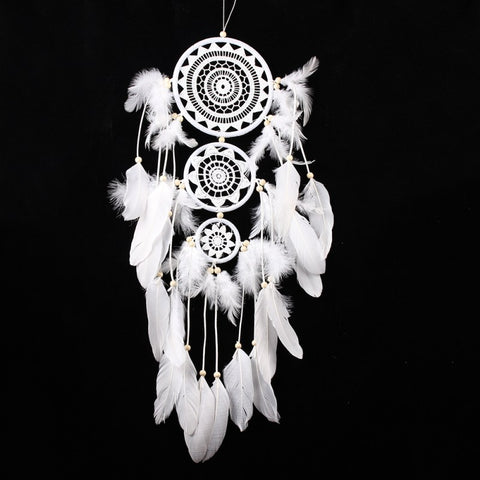 White lace flower feather dreamcatcher