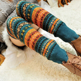 Warm & long winter knitted cuff socks