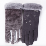 Plush faux suede winter gloves