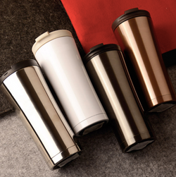 Metallic finish coffee tumbler