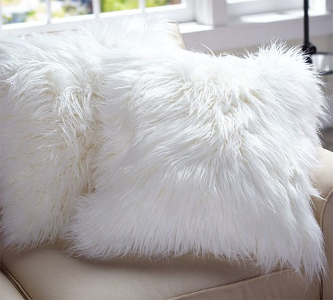 Furry white cushion cover