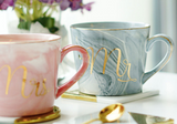Luxury ceramic mugs Mrs & Mr couples coffee cups