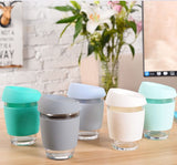 Glass coffee cup with BPA free silicone lid and cover