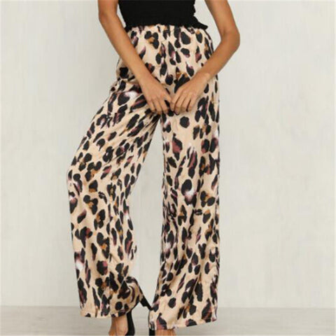 High-waisted wide leopard Pants