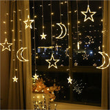 Moon and star shaped LED hanging string lights