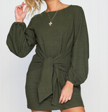 Casual loose belt knot dress