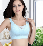 Seamless padded  sports bra with lace
