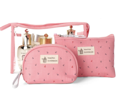 Transparent cosmetics bag set of 3