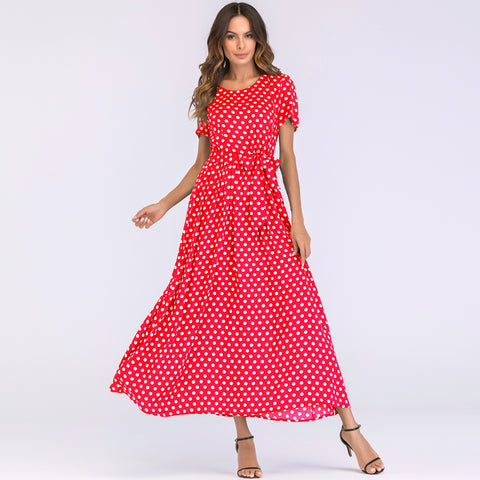 Polka dot wide maxi dress