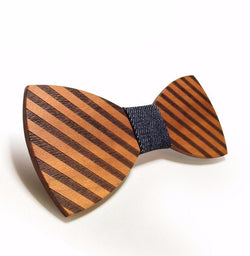 Handmade striped wood butterfly bow tie