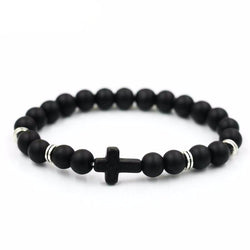 Unisex natural stone cross bracelet