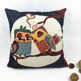 Owl printed cushion cover