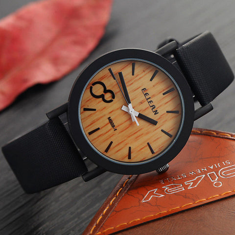 Wood and leather wrist watch