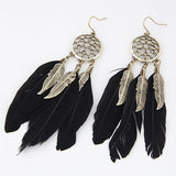 Vintage long feather earrings