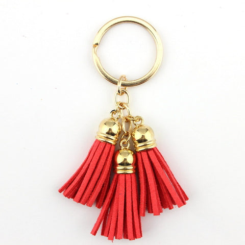 Triple tassel keychain ring