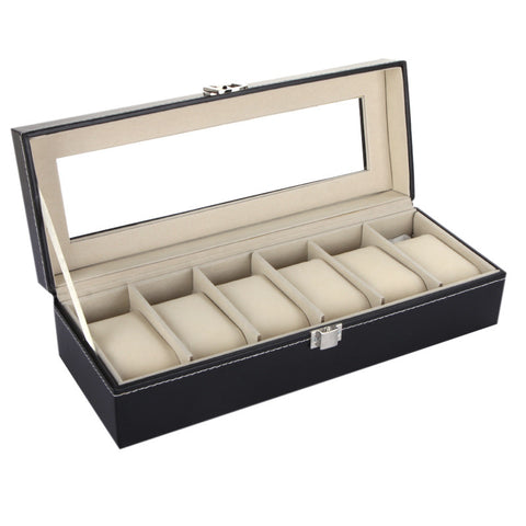 6 slot watch & jewelry display box