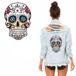 Flower skull patches for clothing