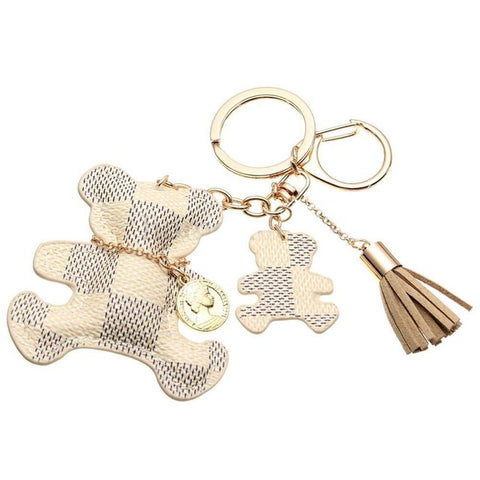 Bear keychain charm ring