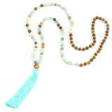 Natural stone mala beads boho yoga necklace
