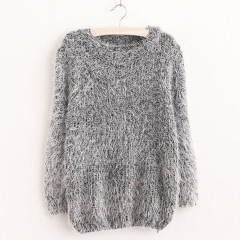 O-neck furry pullover for women
