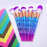 7 or 12 piece diamond rainbow makeup brush set