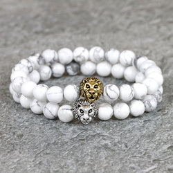 Natural stone bead lion bracelet
