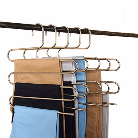 5 tier stainless steel S shape hanger for clothes