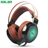 Salar C13 wired gaming headset deep bass, microphone & LED light