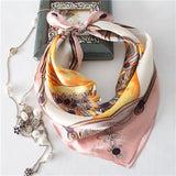 Small square silky scarf
