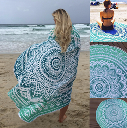 Round tribal beach & sauna towel