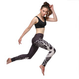 Tree print sports leggings for women