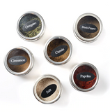 Magnetic spice jars with sticker labels
