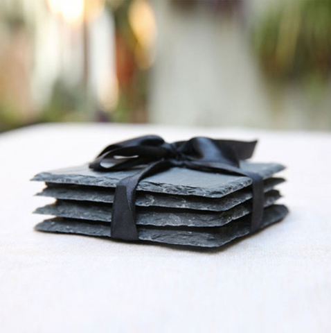 Black stone coaster set