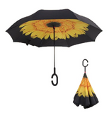 Folding reversible umbrella