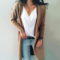 Long knitted cardigan for women