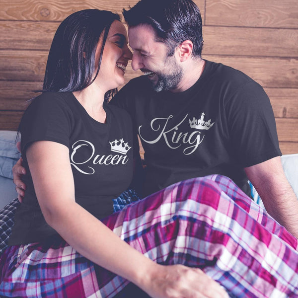 Bazarville Couple Design Black / MEN / XS King Queen - Couple Tee
