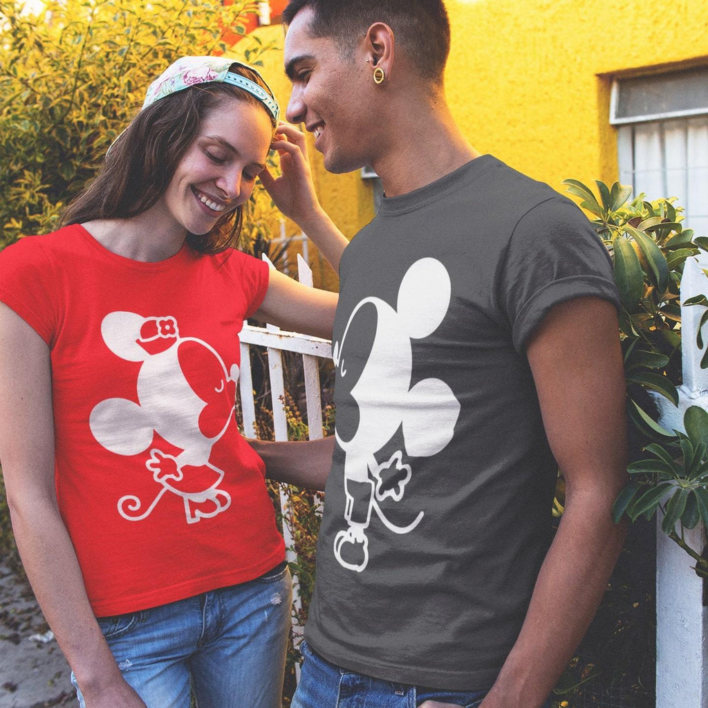 Bazarville Couple Design Black Red / S Mickie and Minnie - Couple T-shirt