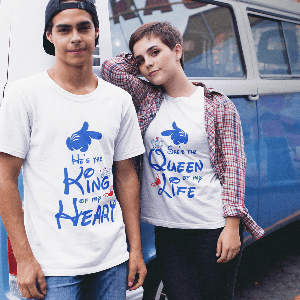 Bazarville Couple Design White / MEN / XS King Queen Of My Heart - Couple Tee