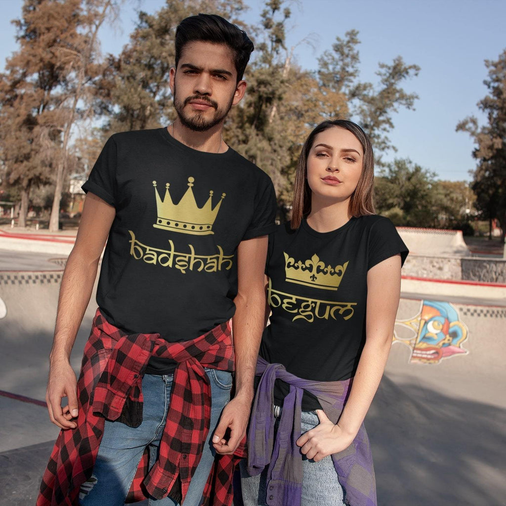 Bazarville Couple Design XS / XS / Black Begum & Badshah - Couple Tee