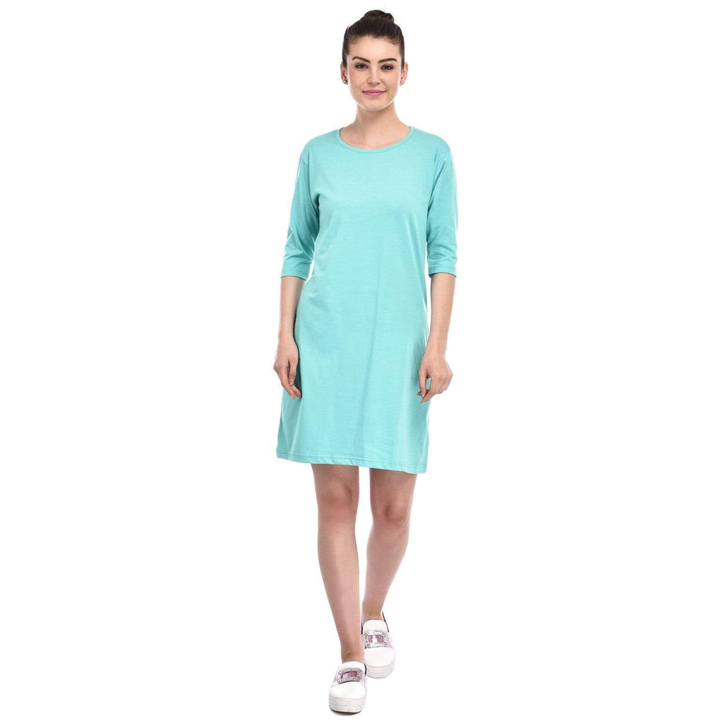 Bazarville Customer XS / MINT GREEN / 100% Cotton Bazarville Mint Green T-shirt Dress
