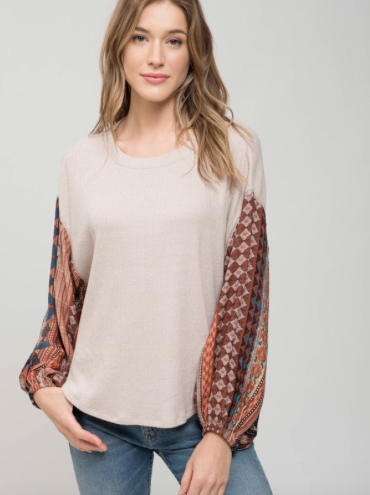 Brittney Printed Wide Sleeve Top