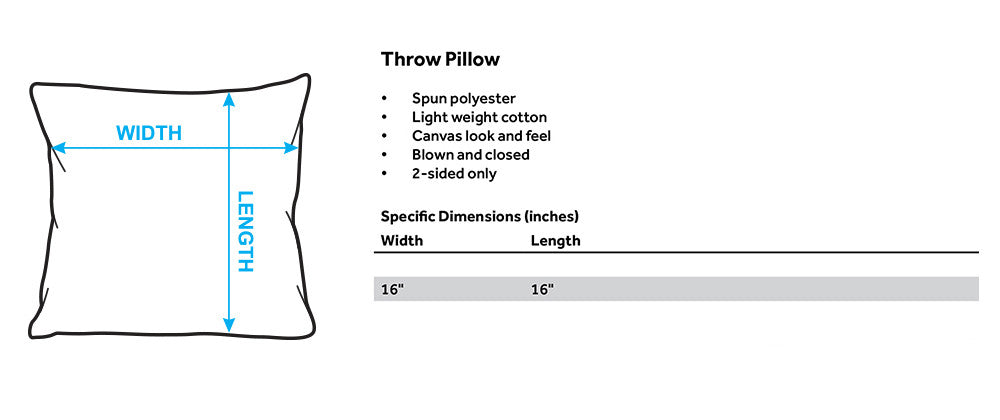 Throw Pillows size guide