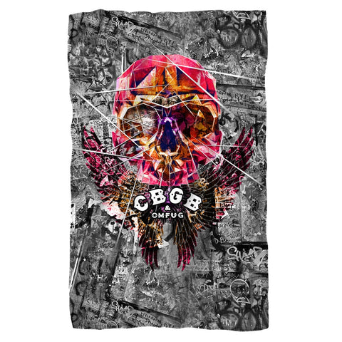 CBGB - Flying Skull Polar Fleece Blanket - Rock Our Tshirts
