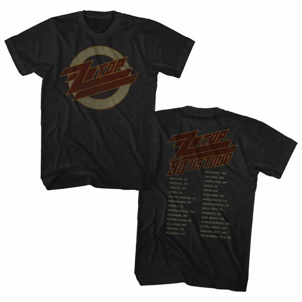 ZZ Top - 1990 US 2 Sided Tour T-Shirt