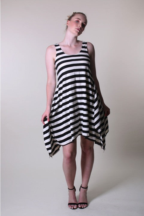 Midi Sleeveless Wide Stripe Black