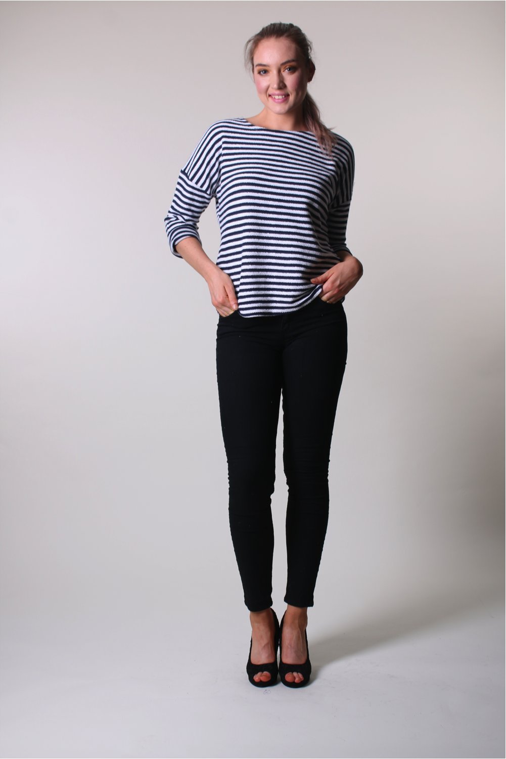 Long Sleeve Top - Black and White